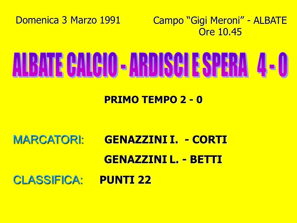 ALBATE CALCIO - ARDISCI E SPERA 4 - 0