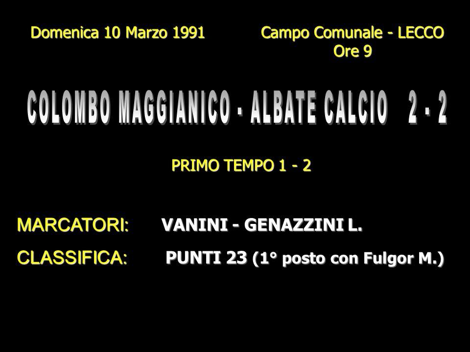 COLOMBO MAGGIANICO - ALBATE CALCIO 2 - 2