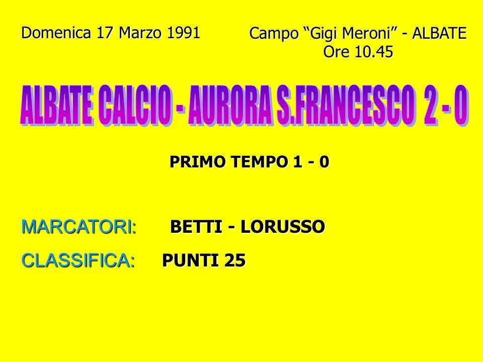 ALBATE CALCIO - AURORA S.FRANCESCO 2 - 0