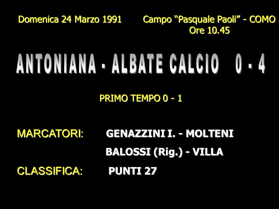 ANTONIANA - ALBATE CALCIO 0 - 4
