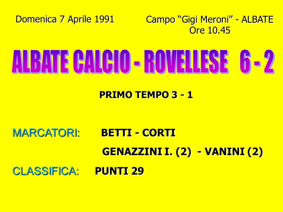 ALBATE CALCIO - ROVELLESE 6 - 2
