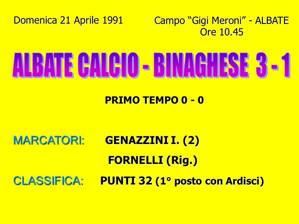 ALBATE CALCIO - BINAGHESE 3 - 1