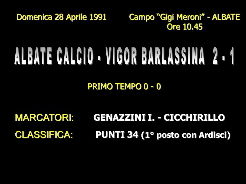 ALBATE CALCIO - VIGOR BARLASSINA 2 - 1