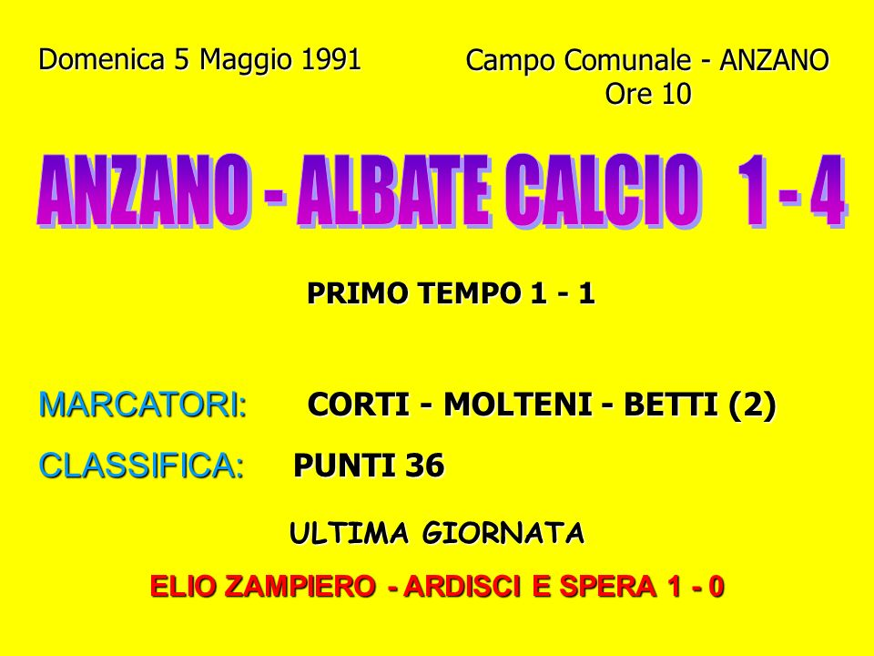 ELIO ZAMPIERO - ARDISCI E SPERA 1 - 0