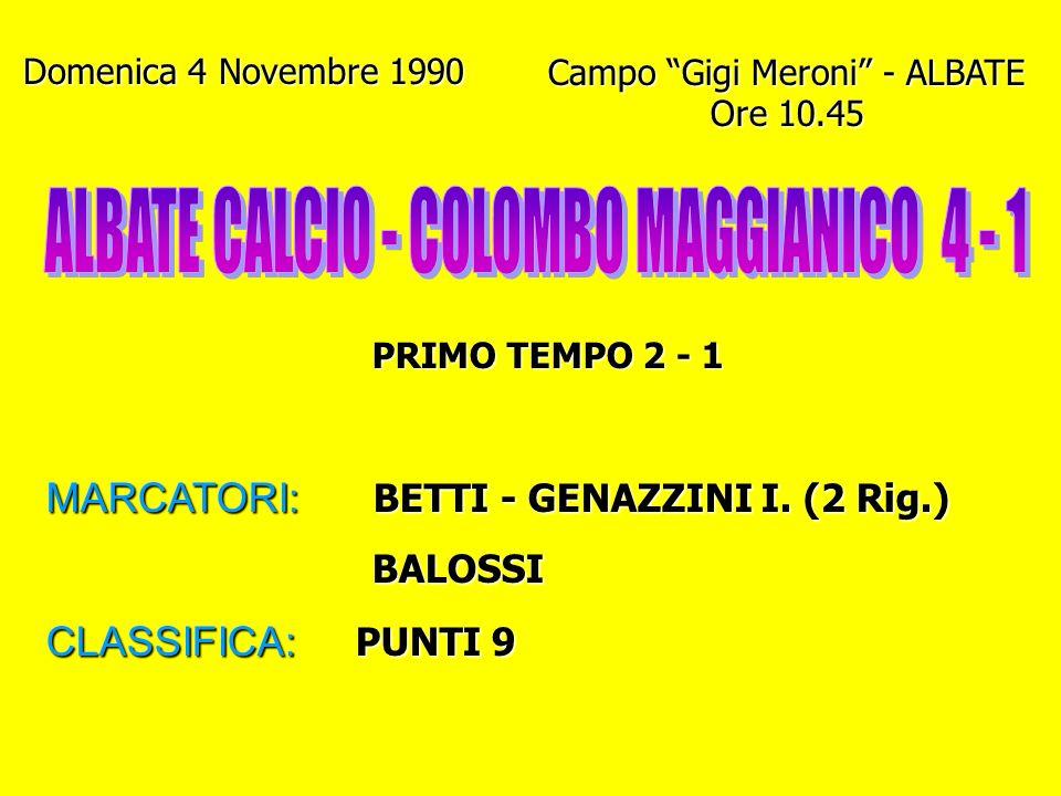 ALBATE CALCIO - COLOMBO MAGGIANICO 4 - 1
