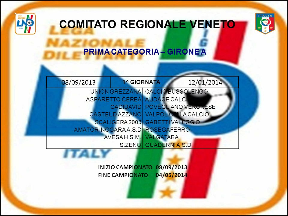 COMITATO REGIONALE VENETO PRIMA CATEGORIA – GIRONE A