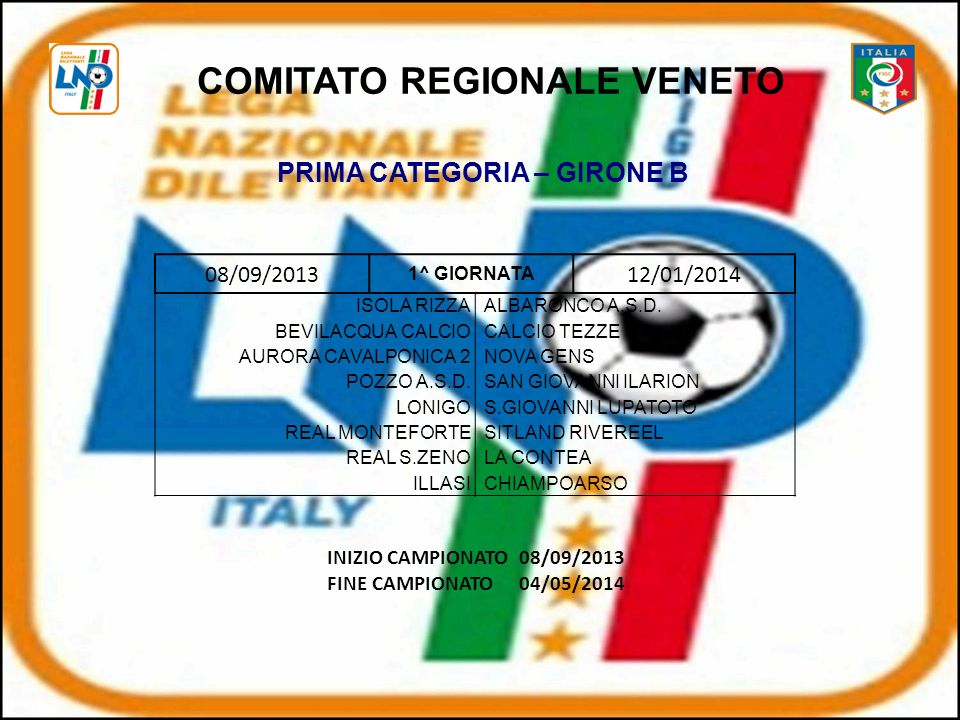 COMITATO REGIONALE VENETO PRIMA CATEGORIA – GIRONE B
