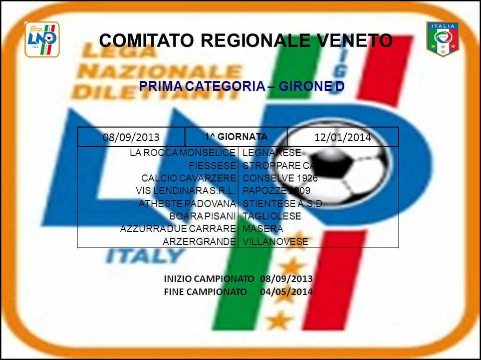 COMITATO REGIONALE VENETO PRIMA CATEGORIA – GIRONE D