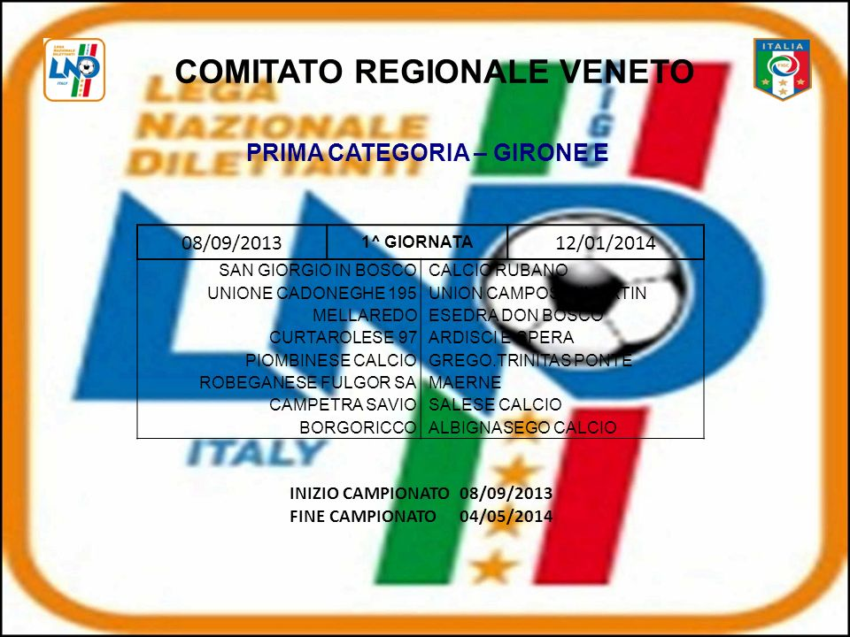 COMITATO REGIONALE VENETO PRIMA CATEGORIA – GIRONE E