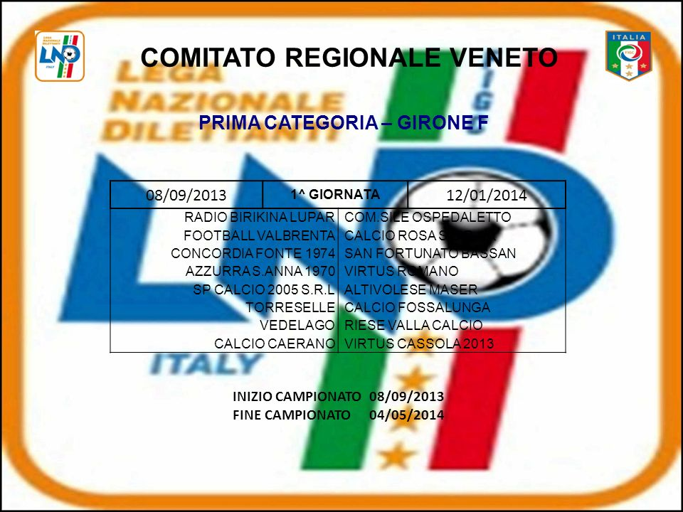 COMITATO REGIONALE VENETO PRIMA CATEGORIA – GIRONE F
