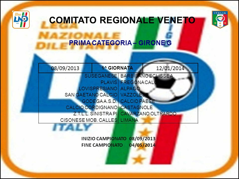 COMITATO REGIONALE VENETO PRIMA CATEGORIA – GIRONE G