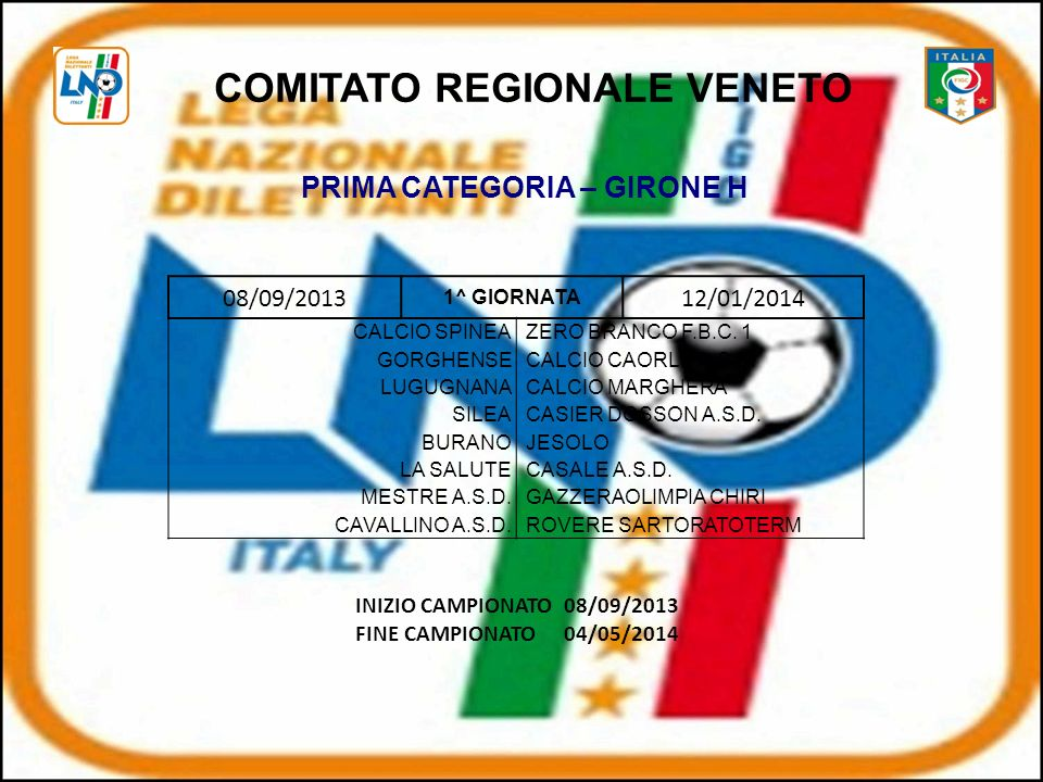 COMITATO REGIONALE VENETO PRIMA CATEGORIA – GIRONE H