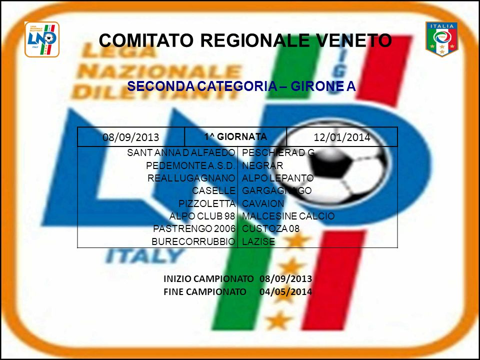 COMITATO REGIONALE VENETO SECONDA CATEGORIA – GIRONE A