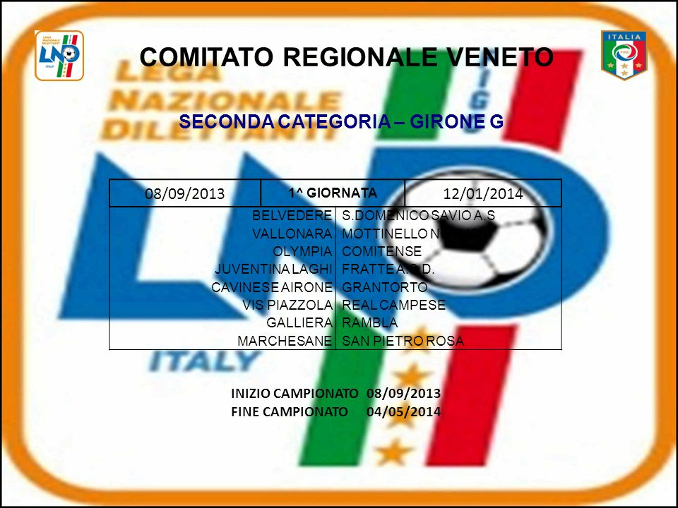 COMITATO REGIONALE VENETO SECONDA CATEGORIA – GIRONE G