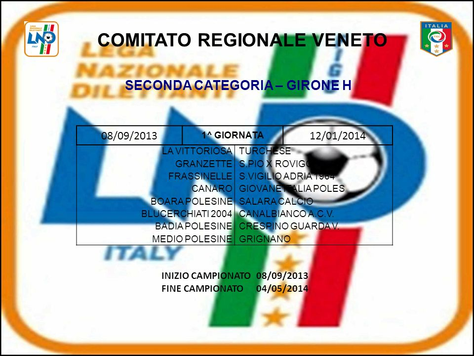 COMITATO REGIONALE VENETO SECONDA CATEGORIA – GIRONE H