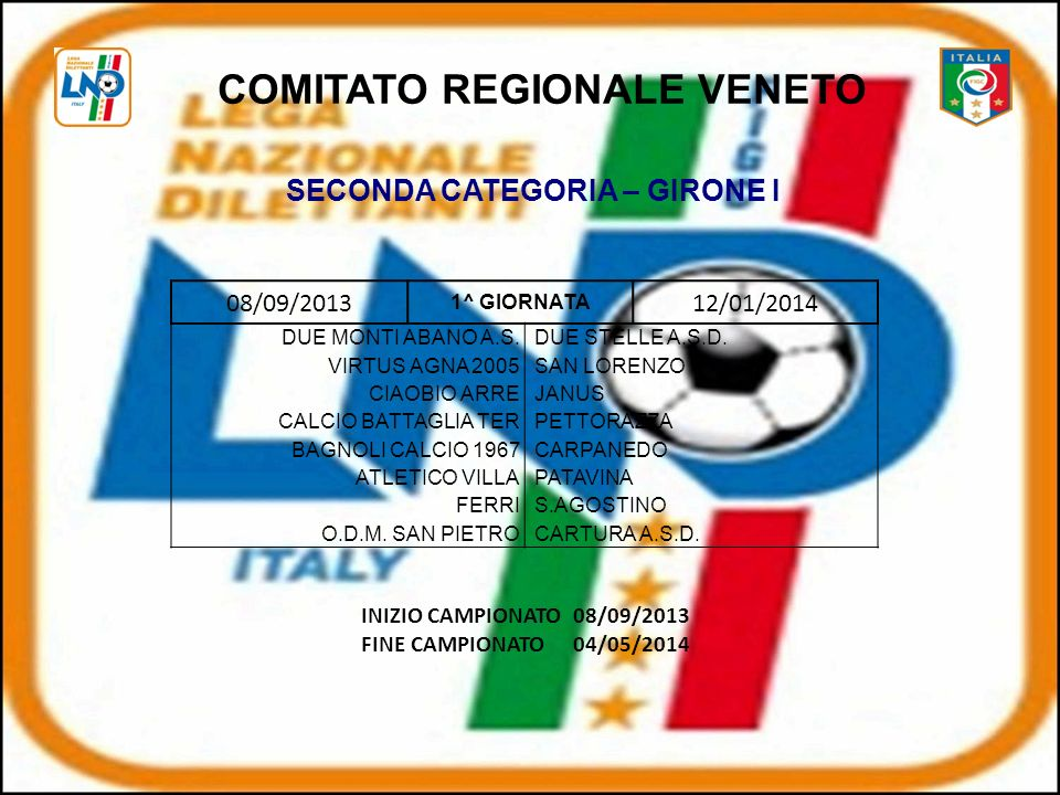 COMITATO REGIONALE VENETO SECONDA CATEGORIA – GIRONE I