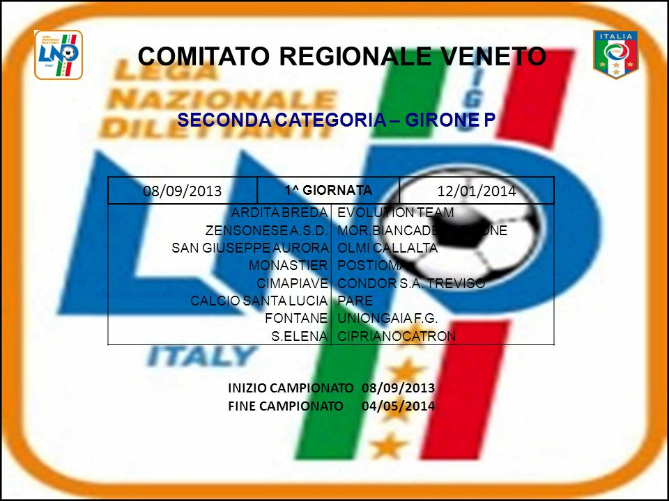 COMITATO REGIONALE VENETO SECONDA CATEGORIA – GIRONE P