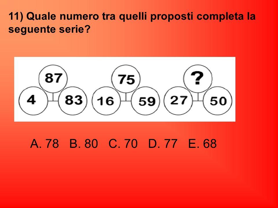 11) Quale numero tra quelli proposti completa la seguente serie