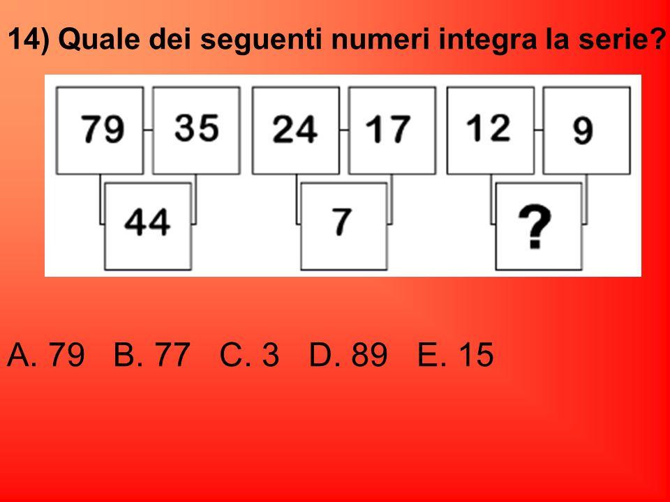 14) Quale dei seguenti numeri integra la serie