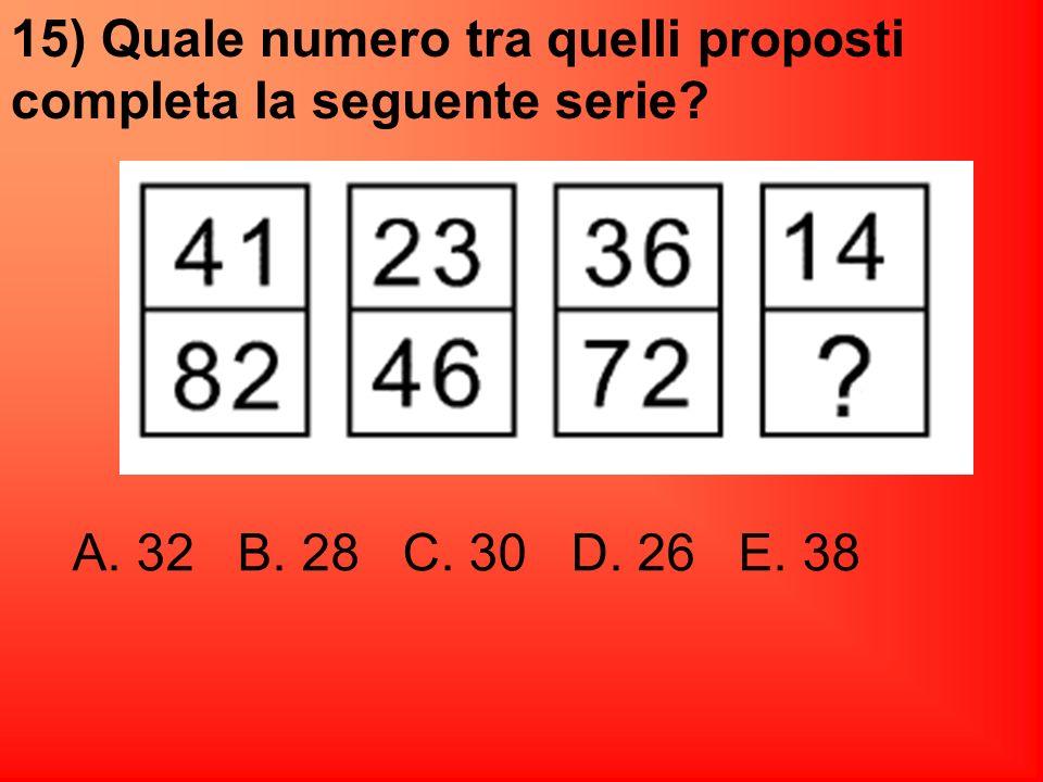 15) Quale numero tra quelli proposti completa la seguente serie
