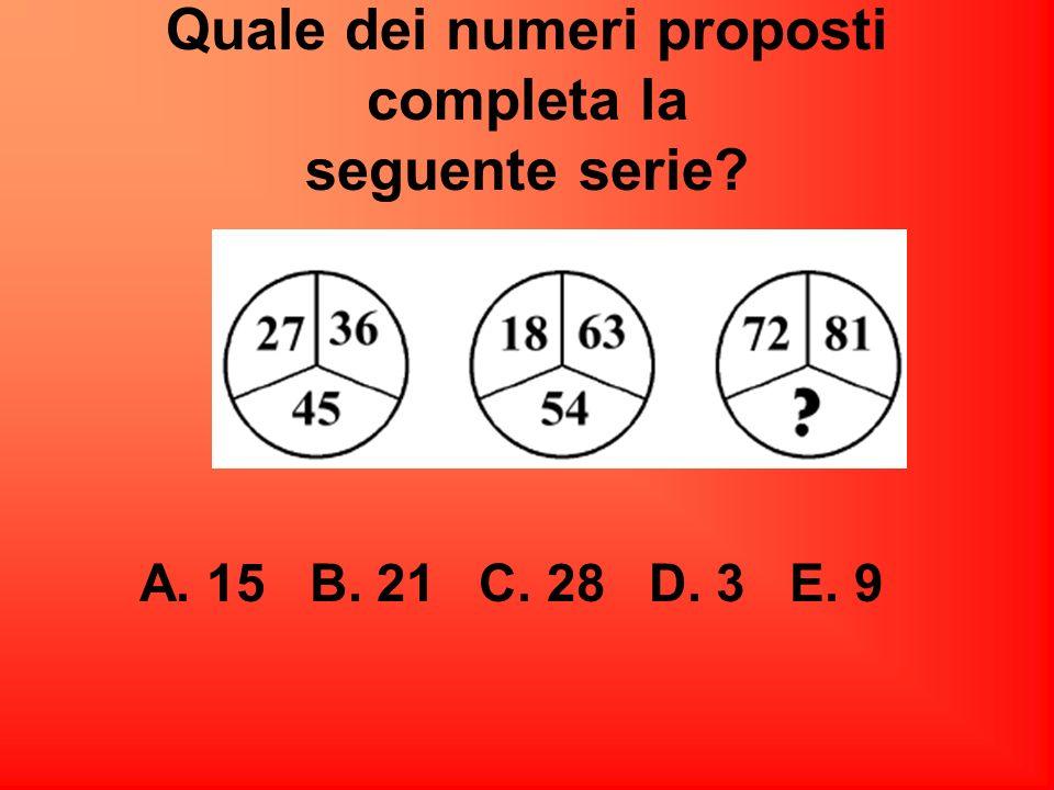 Quale dei numeri proposti completa la seguente serie