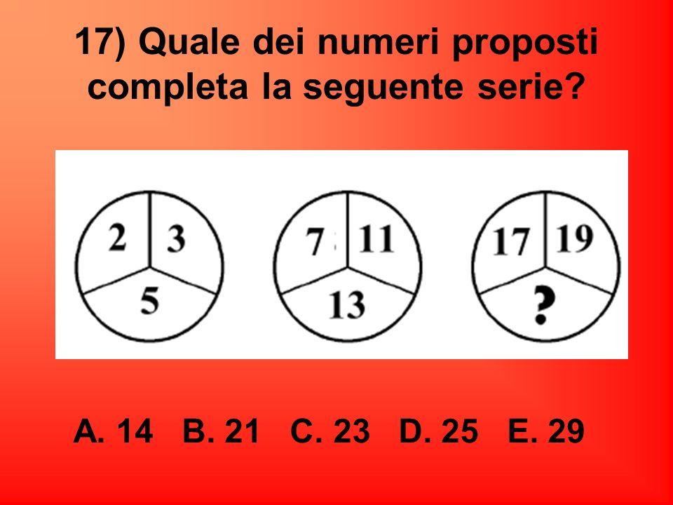 17) Quale dei numeri proposti completa la seguente serie