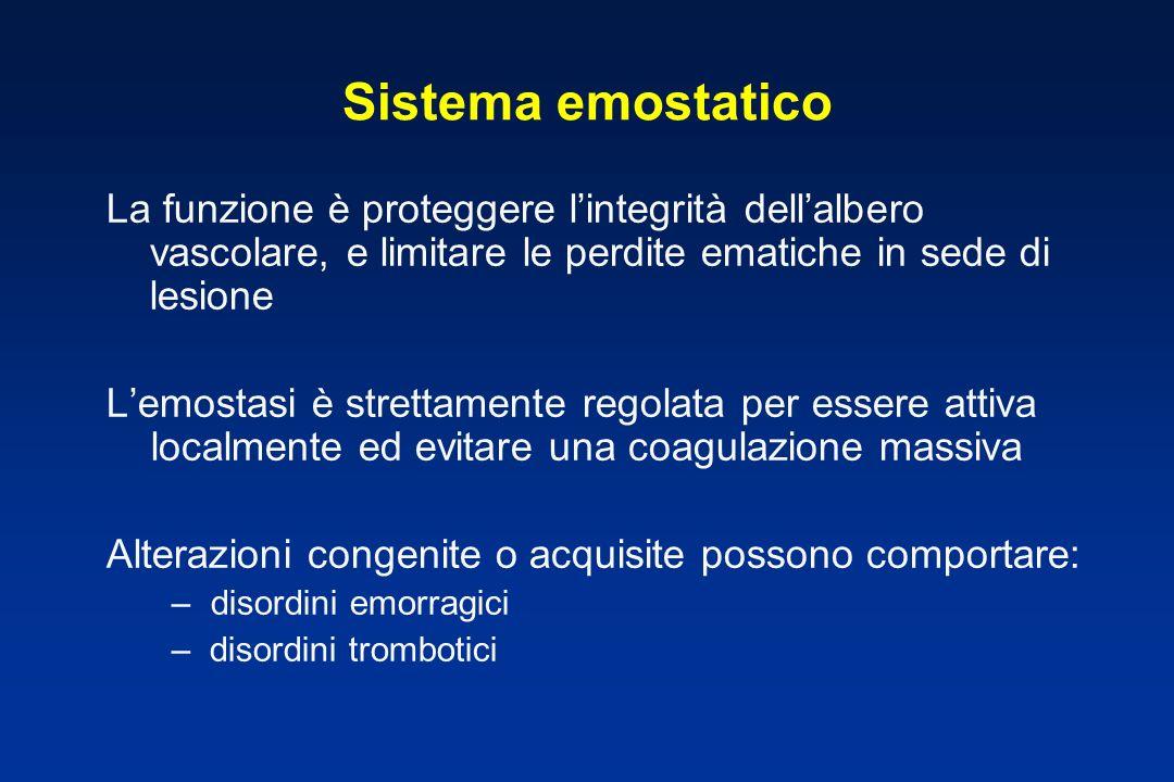 Sistema emostatico La funzione è proteggere l'integrità dell'albero vascolare, e limitare le perdite ematiche in sede di lesione.