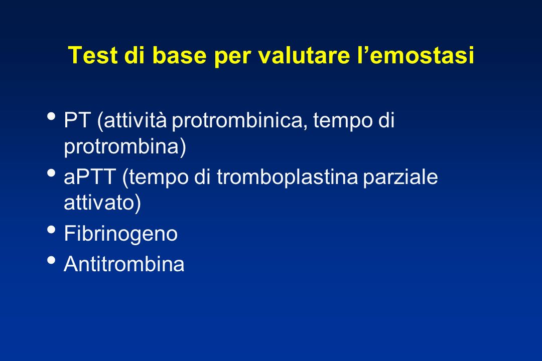 Test di base per valutare l'emostasi