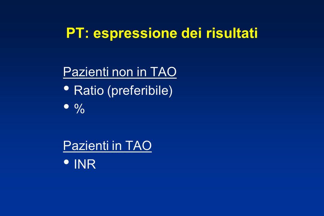 PT: espressione dei risultati