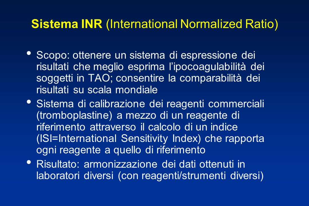 Sistema INR (International Normalized Ratio)
