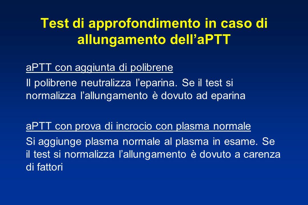 Test di approfondimento in caso di allungamento dell'aPTT