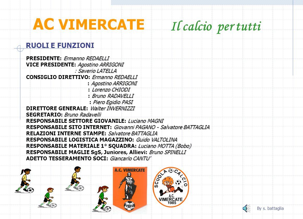 AC VIMERCATE Il calcio per tutti RUOLI E FUNZIONI