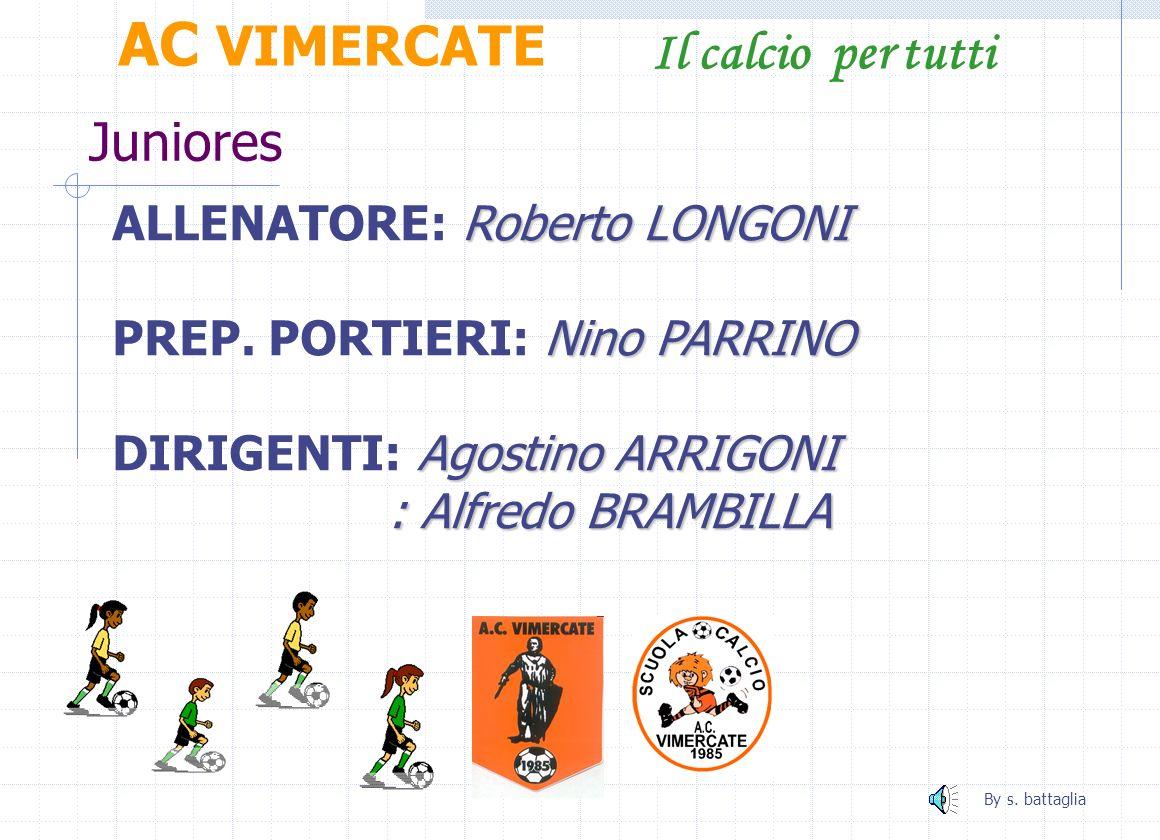 AC VIMERCATE Il calcio per tutti Juniores ALLENATORE: Roberto LONGONI