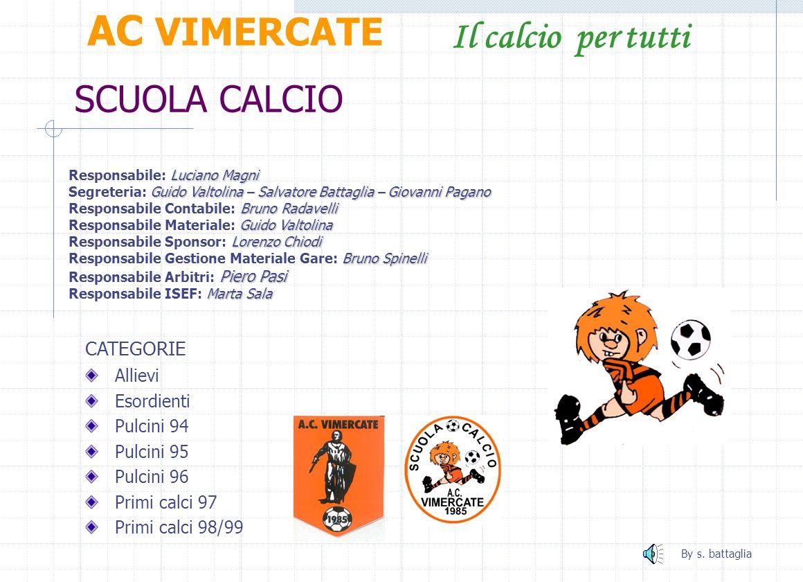 AC VIMERCATE Il calcio per tutti SCUOLA CALCIO CATEGORIE Allievi