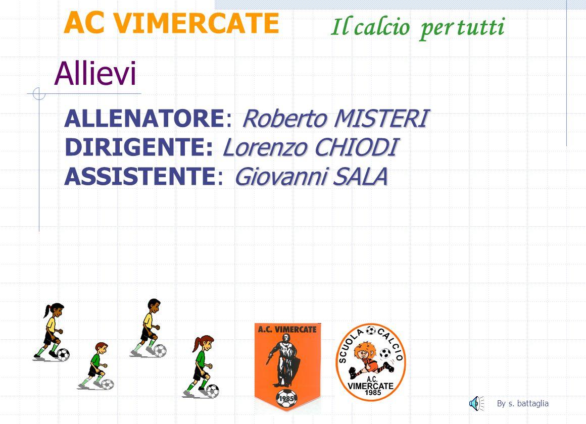 Allievi AC VIMERCATE Il calcio per tutti ALLENATORE: Roberto MISTERI