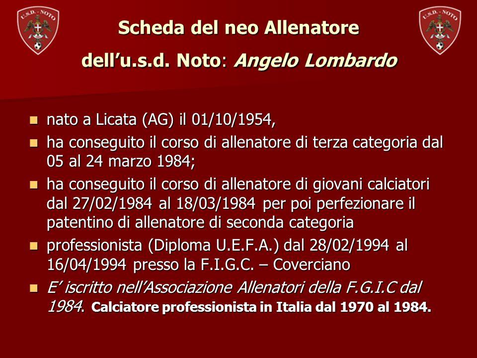 Scheda del neo Allenatore dell'u.s.d. Noto: Angelo Lombardo