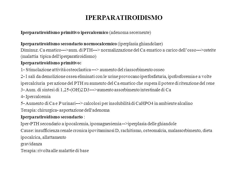 IPERPARATIROIDISMO Iperparatiroidismo primitivo ipercalcemico (adenoma secernente)