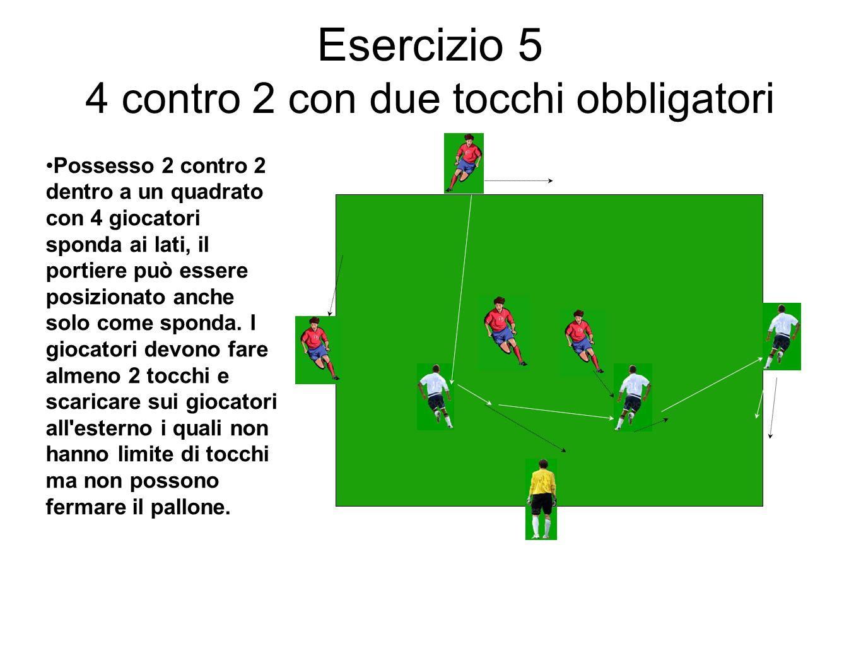 Esercizio 5 4 contro 2 con due tocchi obbligatori