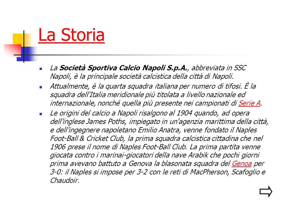 La Storia La Società Sportiva Calcio Napoli S.p.A., abbreviata in SSC Napoli, è la principale società calcistica della città di Napoli.