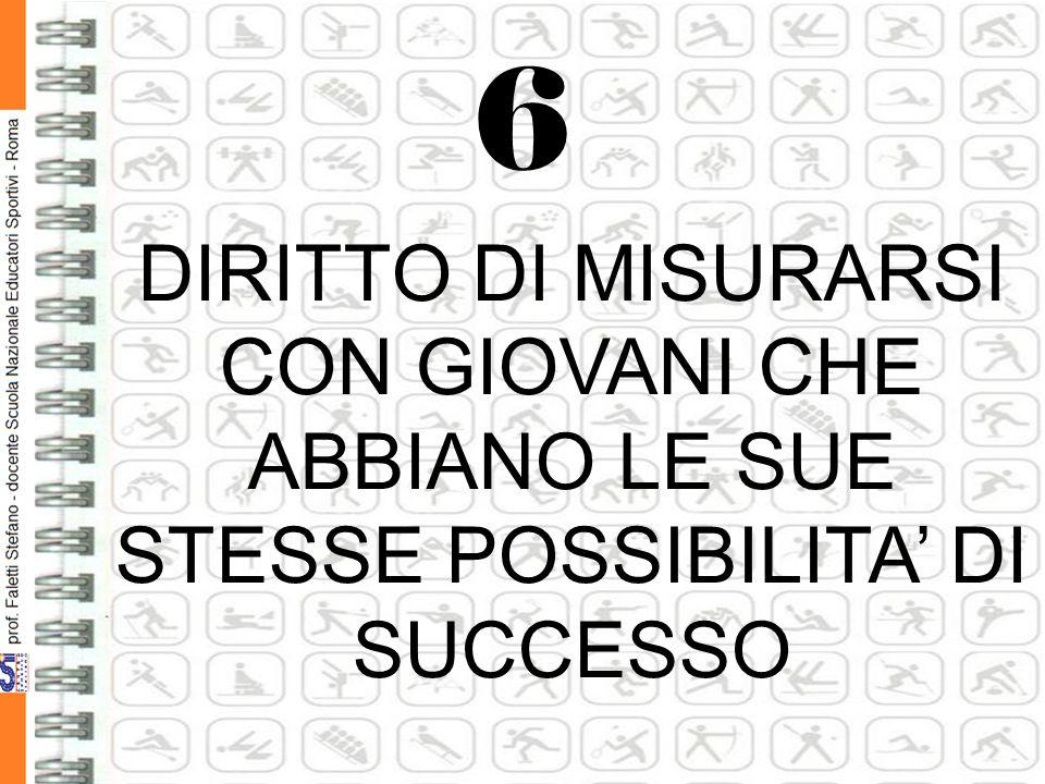 6 DIRITTO DI MISURARSI CON GIOVANI CHE ABBIANO LE SUE STESSE POSSIBILITA' DI SUCCESSO