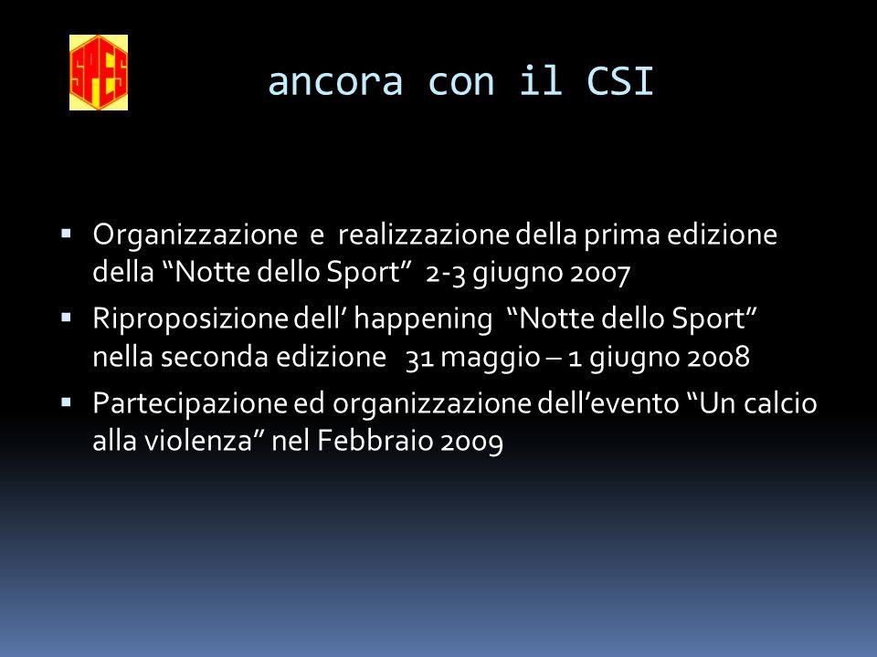 ancora con il CSI Organizzazione e realizzazione della prima edizione della Notte dello Sport 2-3 giugno 2007.