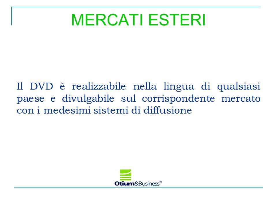MERCATI ESTERIIl DVD è realizzabile nella lingua di qualsiasi paese e divulgabile sul corrispondente mercato con i medesimi sistemi di diffusione.