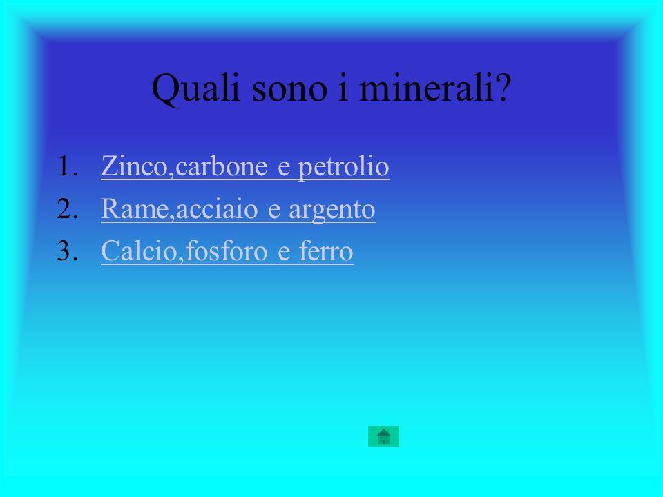 Quali sono i minerali Zinco,carbone e petrolio Rame,acciaio e argento