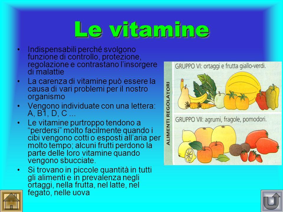 Le vitamine Indispensabili perché svolgono funzione di controllo, protezione, regolazione e contrastano l'insorgere di malattie.