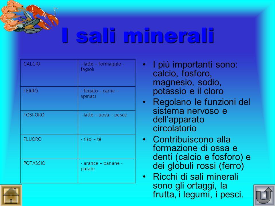 I sali minerali CALCIO. - latte – formaggio - fagioli. FERRO. - fegato – carne – spinaci. FOSFORO.