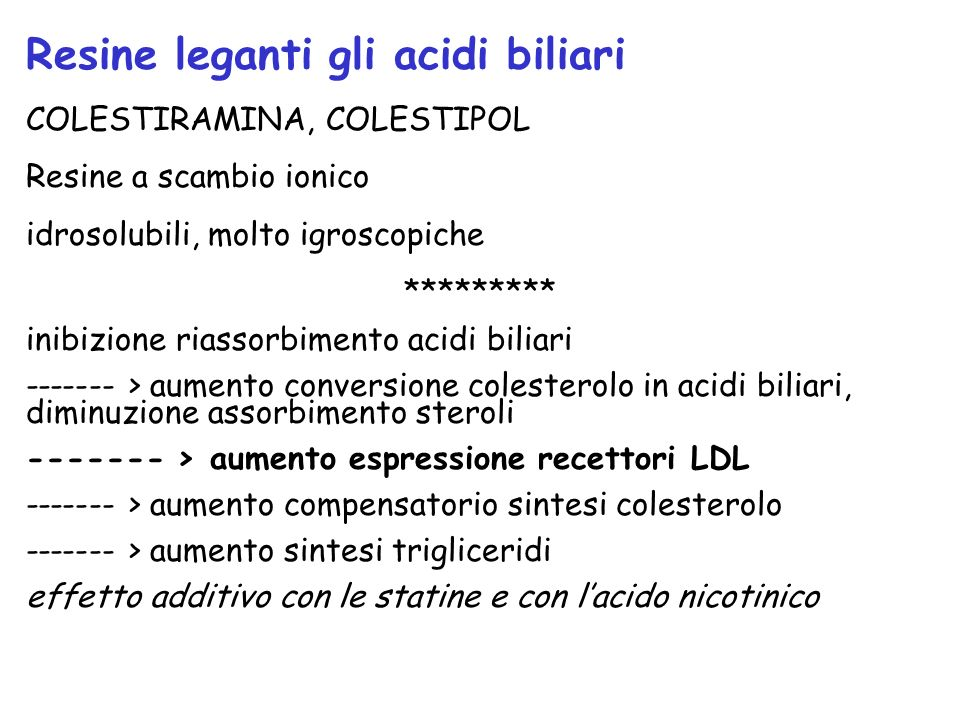 Resine leganti gli acidi biliari