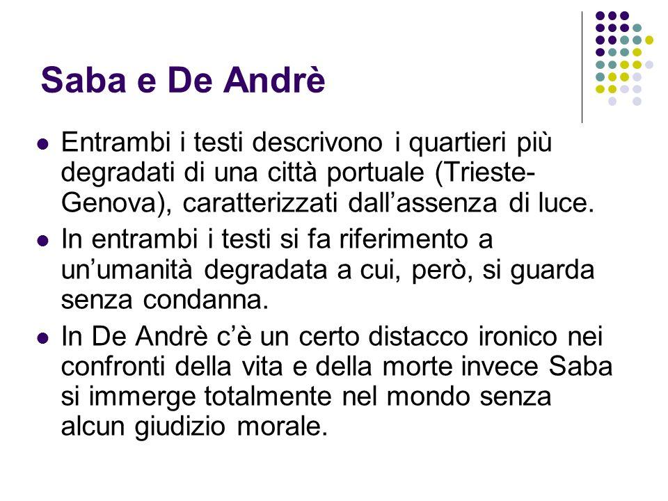 Saba e De Andrè Entrambi i testi descrivono i quartieri più degradati di una città portuale (Trieste-Genova), caratterizzati dall'assenza di luce.
