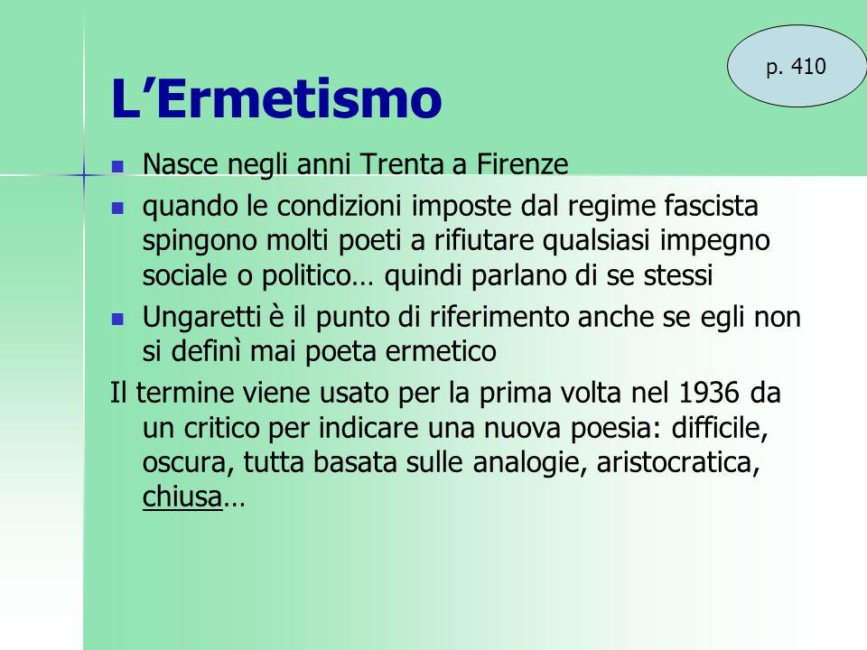 L'Ermetismo Nasce negli anni Trenta a Firenze