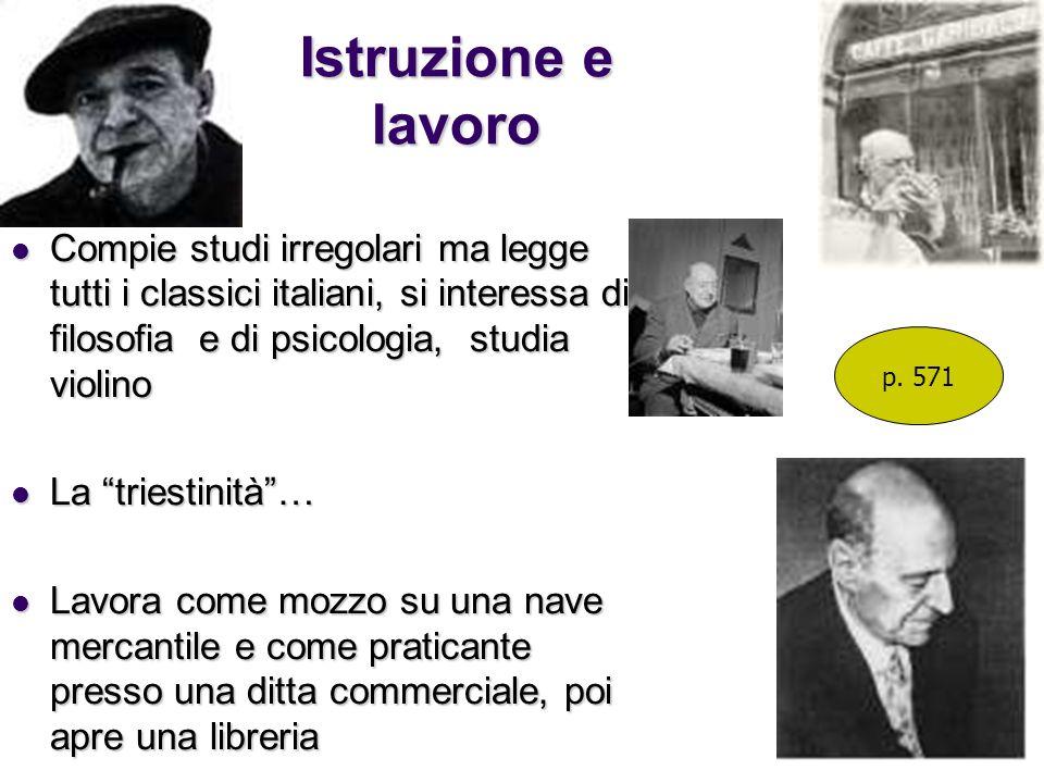 Istruzione e lavoro Compie studi irregolari ma legge tutti i classici italiani, si interessa di filosofia e di psicologia, studia violino.