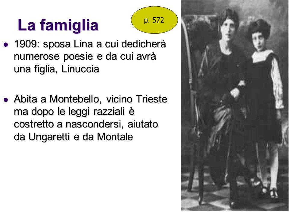La famiglia p. 572. 1909: sposa Lina a cui dedicherà numerose poesie e da cui avrà una figlia, Linuccia.